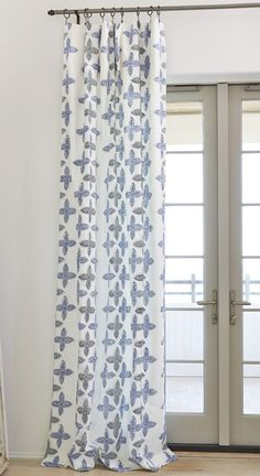 fully lined flat drapery panel with block print and embroidery detail 100 cotton - Drapery Panels