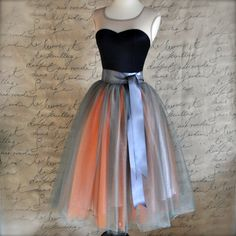 Grey+and+orange+tulle+skirt+for+women.+Wide+by+TutusChicBoutique,+$200.00