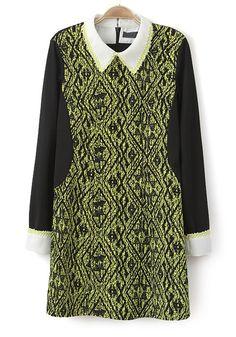 Multicolor Patchwork Geometric Print Turndown Collar Wool Dress