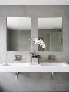 Simple rectangle white sinks. Simple Rectangular mirrors, Rectangular vase.