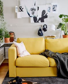 sofa vimle 3 plazas abierto amarillo ikea sof s. Black Bedroom Furniture Sets. Home Design Ideas