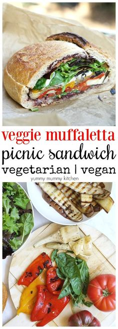 Vegetarian Muffuletta Picnic Sandwich Vegetarian and vegan muffaletta stuffed picnic sandwich Wrap Recipes, Veg Recipes, Vegetarian Recipes, Cooking Recipes, Healthy Recipes, Picnic Recipes, Healthy Food, Picnic Ideas, Picnic Foods