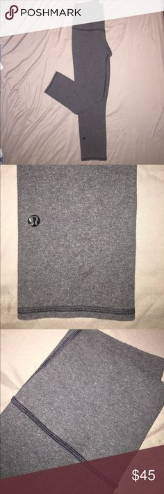 Lululemon crop leggings gently worn, great condition! Size 4, grey cotton leggings. This style runs small, example: less stretchy than wunderunder crops lululemon athletica Pants Leggings