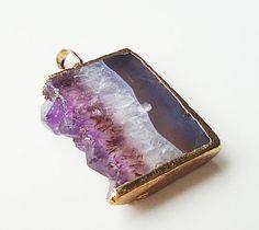 Drusy Druzy Amethyst Purple Edged Gold Dipped Slice by BijiBijoux,