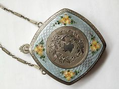 Vintage 1930s Finberg Blue Guilloche Enamel, Floral Design Compact with Chain for Necklace or Chatelaine