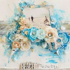 Staey Young created this gorgeous seaside layout for us and she captured her family moment perfectly! #frankgarcia #sttropez #scrapbook #primaflowers