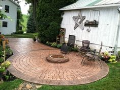 Stamped Concrete Patio With Fire Ring Sugarcreek Ohio   Traditional   Patio    Other Metro