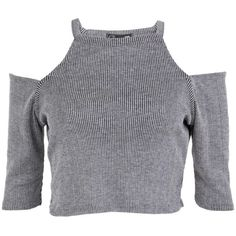 Cut Out Shoulder Crop Top in Grey (38 PEN) ❤ liked on Polyvore featuring tops, low crop top, cold shoulder crop top, cut-out shoulder tops, low cut crop top and open shoulder crop top
