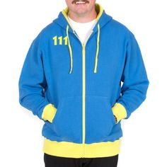 Pre-order by August 31 and get $10 off! Features:  330 gram, 80% Cotton, 20% Poly Fleece Hoodie Blue body with contrasting yellow, thermal hood liner Ribbed sleeve cuffs and band, zipper and drawstring cords Custom Fallout symbol zipper pull Embroidered 111 logo on front chest Oversized 111 logo screenprint on back
