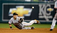 San Francisco Giants second baseman Joe Panik (12) tosses the ball to Brandon Crawford for an out at second base in the third inning of Game 7 of baseball's World Series at Kauffman Stadium in Kansas City, Mo., on Wednesday, Oct. 29, 2014. (Nhat V. Meyer/Bay Area News Group)