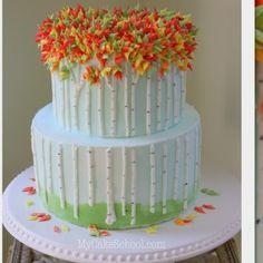 Beautiful Autumn Birch Trees in Buttercream! A Cake Decorating Video Tutorial by MyCakeSchool.com!