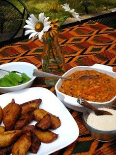 "Ghana's famous ""red-red""(black-eyed pea stew with fried ripe plantain). A tradit..."