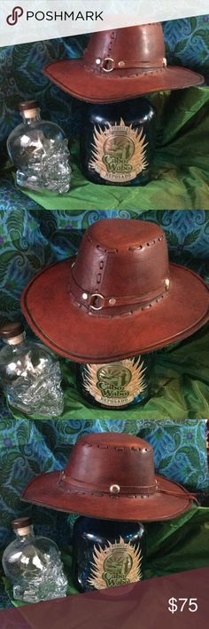 """STAY THIRSTY MY FRIENDS !  HAT Yes friends,  Nothing like a Texas Margarita and a leather cowboy hat to be """"The most interesting woman in the world !""""   Hand made custom,   genuine leather hat that  rocks   I want to be a cow girl with a horse named TTTTTTTTTTTTRIGGER NWOT Artisan Hand Made Accessories Hats"""