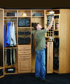 """Rev-A-Shelf introduces its mens pivoting Closet Armoire. Designed for use alone or in conjunction with the Storage Armoire, this product fits into an 8"""" opening between two 16"""" depth closet panels, simply add a panel front and you have the must have in closet organization. Its innovative pivoting action allows you to access either the 30"""" mirror or the various storage compartments with a flick of the wrist."""