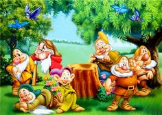 Snow white and the seven dwarfs Disney Pixar, Disney Cartoons, Walt Disney, 7 Dwarfs, Seven Dwarfs, Snow White Disney, Disney Home Decor, Disney Love, Cartoon Characters