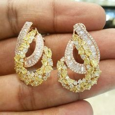 dhakandubaimallBeautifully designed Yellow and White Diamond Earrings! For details please WhatsApp +971507494260 / Kik - dhakandubaimall