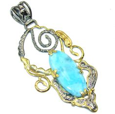 $74.25 Beautiful+AAA+Blue+Larimar,+Gold+Plated,+Rhodium+Plated+Sterling+Silver+Pendant at www.SilverRushStyle.com #pendant #handmade #jewelry #silver #larimar