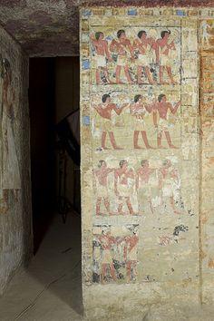 Egypt Saqqara Tombs , La tumba de Merefnebef , pared Noroeste de la capilla .