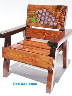 Chaise de Kids enfants meubles plein air Folk Art raisins, bambin + garçon, fille, Patio ou jardin, récupéré sensation bois, rustique, 1er cadeau d