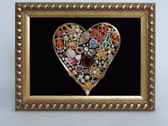 Vintage Rhinestone & Gold tone  Costume Jewelry repurposed Framed heart . art jewelry craft