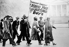Protesters march on the White House in 1933 to demand a fair trial for the 'Scottsboro Boys'. This case – in which a group of black teenagers was convicted by an all-white jury of raping a white woman, then sentenced to death – is considered a grave miscarriage of justice