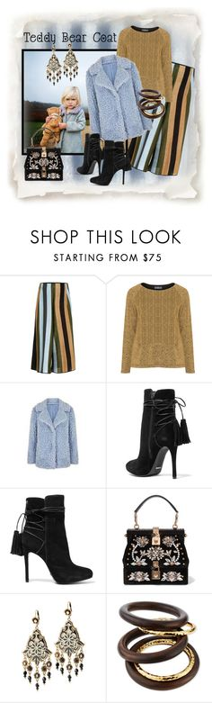 """""""Snuggly"""" by czecze ❤ liked on Polyvore featuring Circus Hotel, Red Herring, Schutz, Dolce&Gabbana, Michal Negrin, NEST Jewelry and teddybearcoats"""