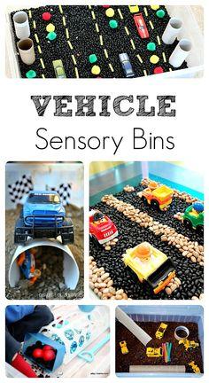 Fun vehicle sensory bins for toddlers and preschoolers.