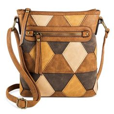Bueno Women's Faux Leather Suede Crossbody Handbag with Diamond Pattern and Zip Closure - Tan/Brown
