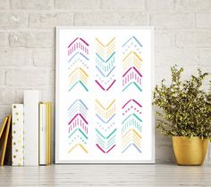 Láminas, Lamina Decorativa, Laminas Nordicas, Nordic Print, Summer Print, Arrows Print, Colorful, Flechas, Stripes, Mint, Geometric Art