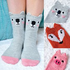 Pawsome Pals Koala, Fox, and Pig Animal Socks Knitting pattern by Lauren Riker – Knitting Socks İdeas. Diy Tricot Crochet, Crochet Socks, Knitted Slippers, Knitting Socks, Knitting For Kids, Knitting Projects, Knitting Patterns Free, Knit Patterns, Free Pattern