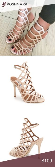 Steve Madden Blush Caged Sandals *NEW with box. Nude blush suede cage-like sandals finished with an open toe, stiletto heel and strappy upper.     •Leather upper material •Man-made lining •Man-made sole  •4.25 inch heel height •Round open toe sandal •Caged upper Steve Madden Shoes