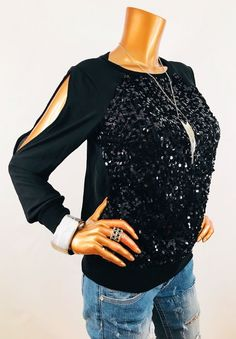 acc42d3e90e18 Cache S Top Stretch Open Cut Sleeves Black Blouse Shirt Sequins Front