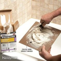 "Can't find a caulk color to match your grout? Here's how to custom mix your own caulk so it's a ""dead-on"" match Window Cleaning Tips, House Cleaning Tips, Spring Cleaning, Cleaning Hacks, Cleaning Products, How To Remove Grout, Remove Stains, How To Repair Tiles, Coloured Grout"