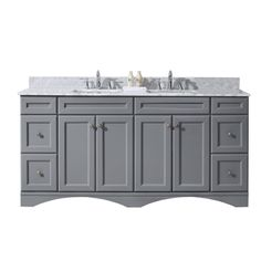 Virtu USA Talisa 72 in. W x 22 in. D Vanity in Grey with Marble Vanity Top in White with White Basin