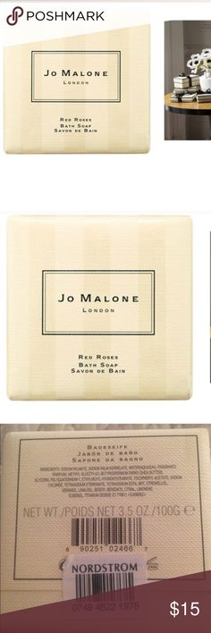 Jo Malone RED ROSES body soap NWT 3.5 OZ Jo Malone RED ROSES body soap NWT 3.5 OZ. Brand new from Nordstrom. Smells incredible and pairs very well with jo Malone red roses lotion. Bundle them for a discount Nordstrom Other