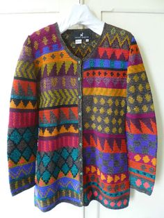 PERUVIAN CONNECTION HANDMADE PIMA COTTON CARDIGAN  KAFFE FASSETT