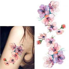 Born Pretty 1 Sheet Waterproof Temporary Tattoo Sticker Watercolor Orchid Pattern DIY Arm Body Art Decal