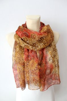 Red Silk Floral Scarf  Women Fashion Shawl  Unique by LocoTrends