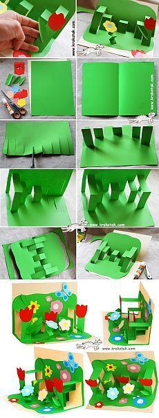 Dětská tvořivost. Pohlednice 8. března / Dětské tvořivost - nášivka, řemesla z barevného papíru, kartonu, těsta, jíl, plastových lahví pro děti / Luntik. Rozvoj děti. Kreativita Hračky