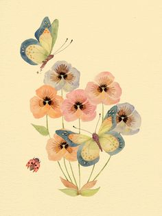 "colleenparker: "" Butterflies & Pansies """