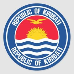 Shop Kiribati Round Emblem Classic Round Sticker created by KDR_DESIGN. Kiribati Flag, Political Events, Anatomy Drawing, National Flag, Round Stickers, Chicago Cubs Logo, Invitation Cards, Flags, Art For Kids