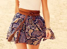 High waist skirts are even more prettier when it has interesting tribal prints.