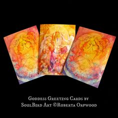 Soul Sister Goddess Greeting Card Set of 3 Goddess Art, Soul Sisters, Pisces Zodiac, Dark Night, Card Sizes, True Colors, Watercolor Paintings, Fine Art Prints, Greeting Cards