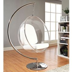 Scoop Hanging Chair - They are suspended from above, leading to a floating or bubble-like sensation when you're seated in it. Available in many colors.
