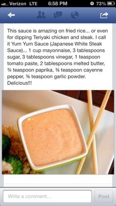 Yum Yum Sauce Recipe - Best Recipes Around The World- Yum Yum Sauce Recipe – Best Recipes Around The World Yum Yum Sauce (aka Japanese Steakhouse White Sauce) Goes really … - Sauce Recipes, New Recipes, Cooking Recipes, Favorite Recipes, Recipies, I Love Food, Good Food, Yummy Food, Yummy Yummy