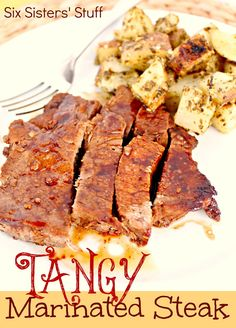 Tangy Marinated Steak from SixSistersStuff.com.  A tasty steak recipe just in time for grilling season! #recipes #dinner #steak #grilling