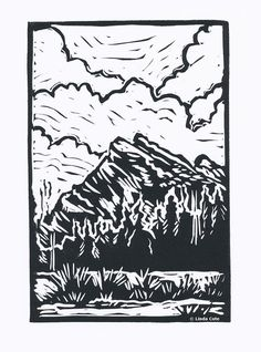Mount Rundle Banff, Hand Pulled Lino Relief Greeting Card, Printmaking Original. $5.00, via Etsy.
