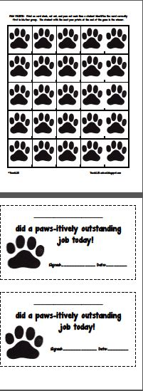 A new version of I SPY: -18 Game boards 6 boards on 1st grade level 6 boards on 2nd grade level 6 boards on 3rd grade level -3 teacher word lists -9 i-spy pointers -25 paw prints -2 happy notes **You could also use these game boards as BINGO CARDS. TPT - $3