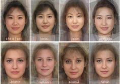 Meet the world's Mrs Averages: China (Han), Korea, Japan, Mongolia, Ukraine, Sweden, Poland, Russia. (experimental psychologists at the University of Glasgow blend thousands of faces together to reveal what the typical woman's face looks like in 41 different countries from around the globe)