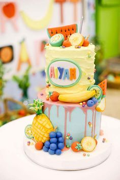 Image result for fruit theme  cake